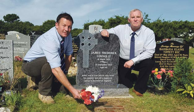 BNP Chairman Adam Walker and National Treasurer Clive Jefferson attend British Hero James Connolly's grave