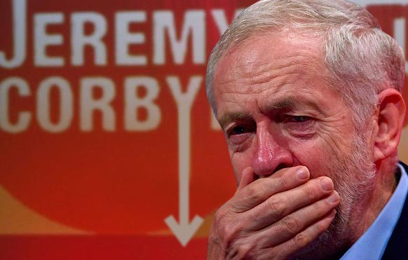 Jeremy Corbyn looking scared and shocked