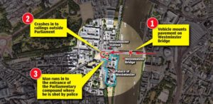 map of Westminster terrorist attack