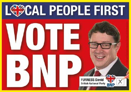 Election poster of David Furness: Vote BNP - Local People First