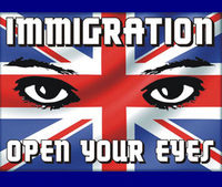 a pair of eyes on a British flag with the words 'Immigration open your eyes'.
