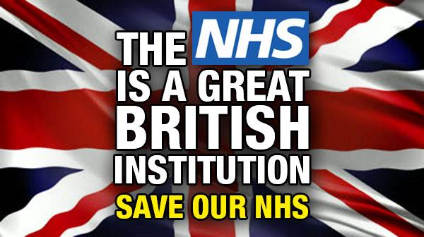 British flag with the words: The NHS is a great British institution. Save our NHS.