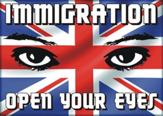 Immigration myth: UK flag with the words 'Immigration open your eyes'.