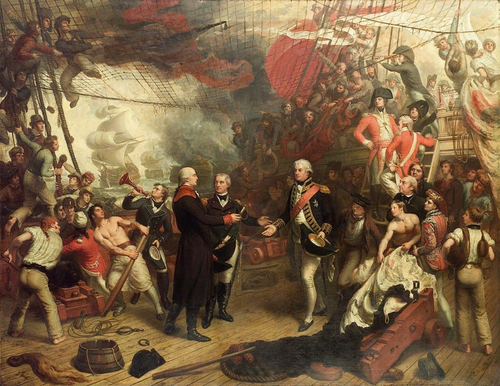 Dutch Admiral de Winter surrenders to Admiral Duncan