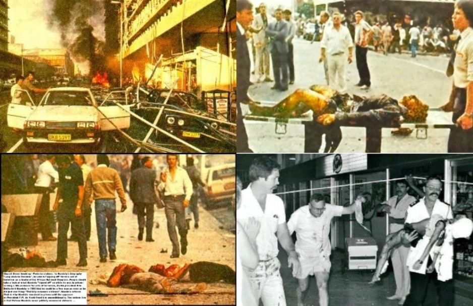 Four photos of the dead and wounded because of African National Congress (ANC) bombs in South Africa
