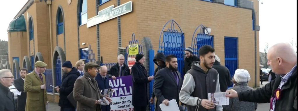 Ukip activists outside mosque in Stoke.