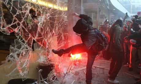 London 2010: Hundreds of left-wing thugs broke into and occupied the Conservative Party headquarters during a student fees protest.