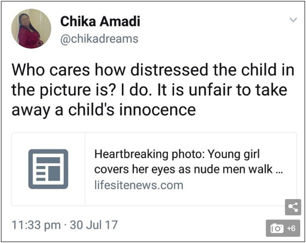naked in front of children Her tweets, which have since been deleted read: