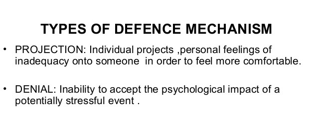 Far Left: Types of defence mechanism include projection and denial