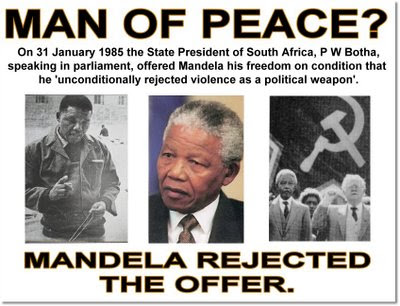 Nelson Mandela was offered an early release from prison in 1985 on the condition that he renounced violence, but Mandela refused