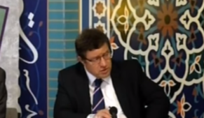 David Furness in a televised debate at a mosque