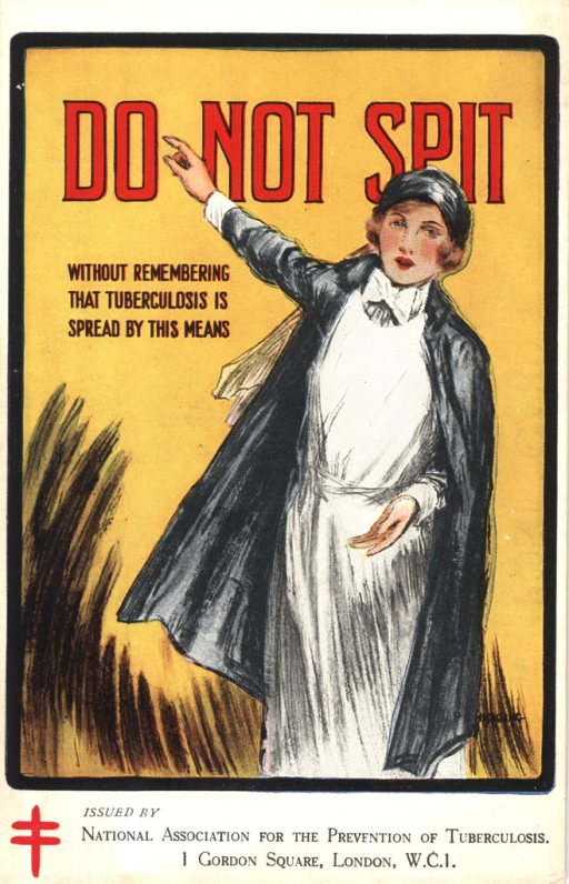 "1910 advertising postcard for the National Association for the Prevention of Tuberculosis featuring a color drawing of a nurse wearing a dark blue jacket pointing to the phrase ""do not spit""."