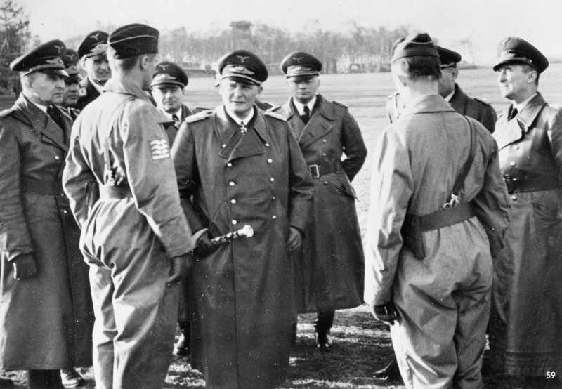 Battle of Britain Day: Luftwaffe Commander-in-Chief Hermann Göring with members of the German armed forces, 1940.