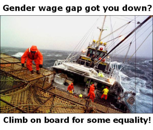 Gender equality paradox: Fishermen on a trawler in very rough seas. Efforts to get women to do this dangerous work have ended in failure.