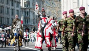 St George's Day parade through the streets of London. Make St George's Day a Bank Holiday
