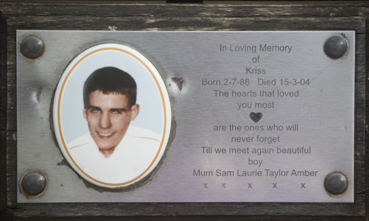plaque in loving memory of Kriss donald