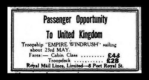 advert for Empire Windrush ship