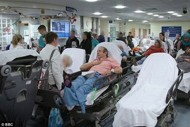 Our NHS in 2018 : more than thirty bed-ridden patients queuing for up to fifteen hours in an overcrowded A&E department at a hospital in Nottingham.