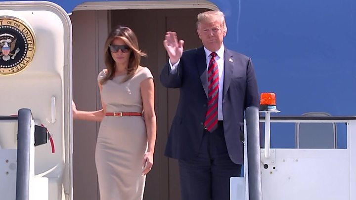 Trump visit: President Donald Trump and the First Lady of the United States, Melania Trump.