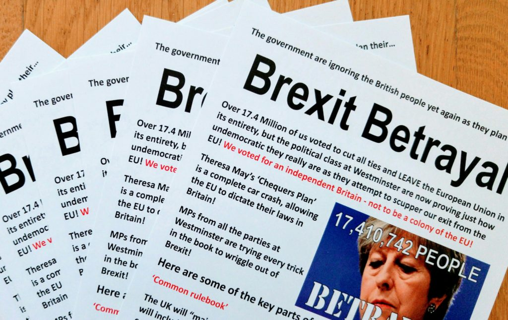 Bexley BNP designed and printed thousands of 'Brexit Betrayal' leaflets.